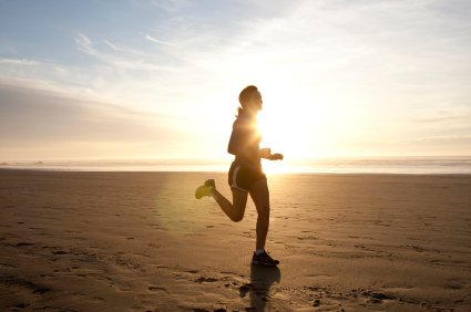 Laufen im Sonnenuntergang