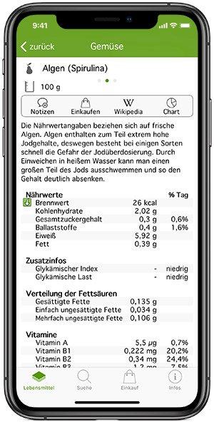 Nährwerte App iOS
